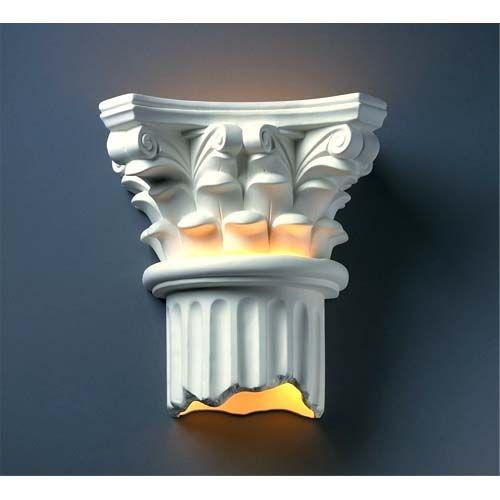Ambiance Greco Travertine Corinthian Column Two-Light Bathroom Wall Sconce - (In FFF-Greco Travertine(TRAG))