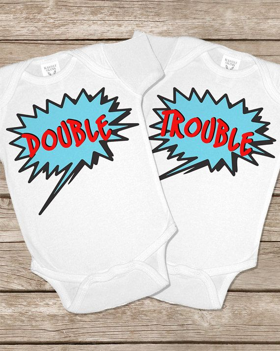 130491105 Double Trouble Twinsie Set Two Twin Twins Onesies Baby Gifts Set ...