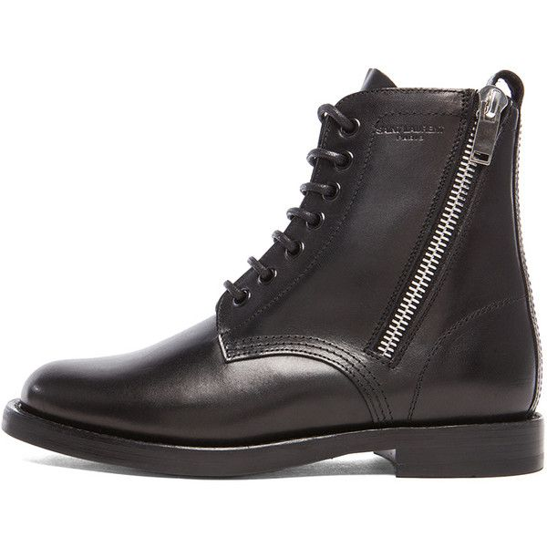 4bb04206d9e8 Saint Laurent Leather Ranger Zipper Combat Leather Boots ($1,295) ❤ liked on  Polyvore featuring shoes, boots, ankle booties, ankle boots, lace-up ankle  ...