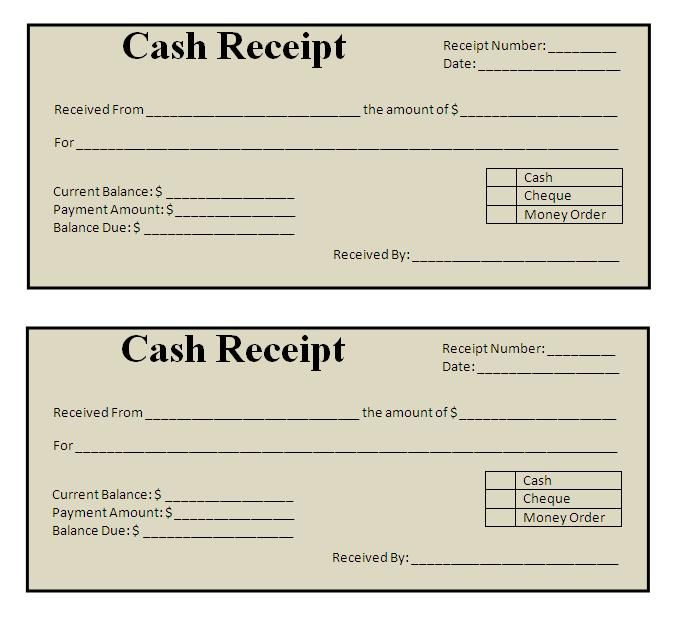 receipt template – Receipt Document Template