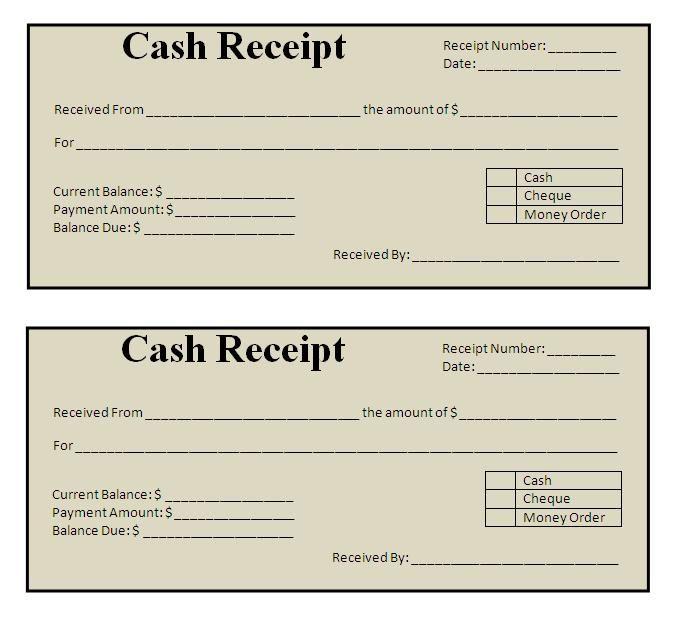 Payment Receipt Cash Receipt Template