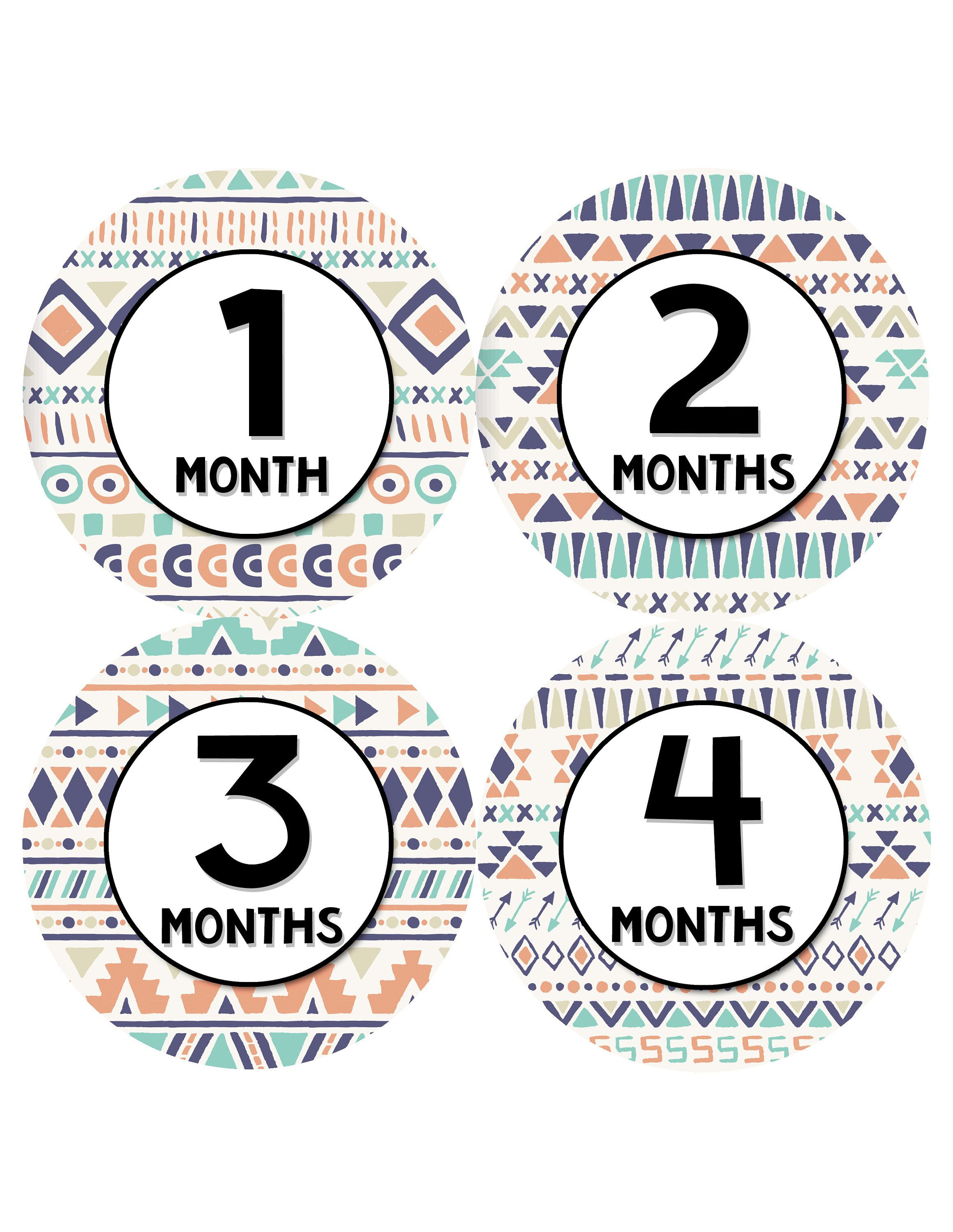 Tribal Baby Month Stickers Monthly Baby Sticker For Girls Months In Motion