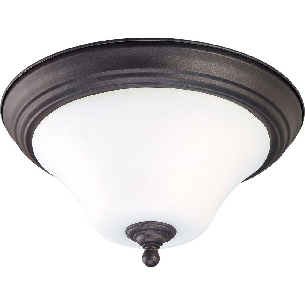 Glomar 2 Light Dark Chocolate Bronze Flush Mount With Satin White Glass Glass Ceiling Lights Bronze Flush Mount Lighting