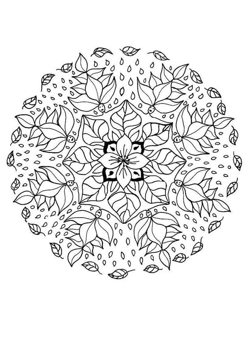 flower color pages for kids | ... coloring pages from elf mandalas ...