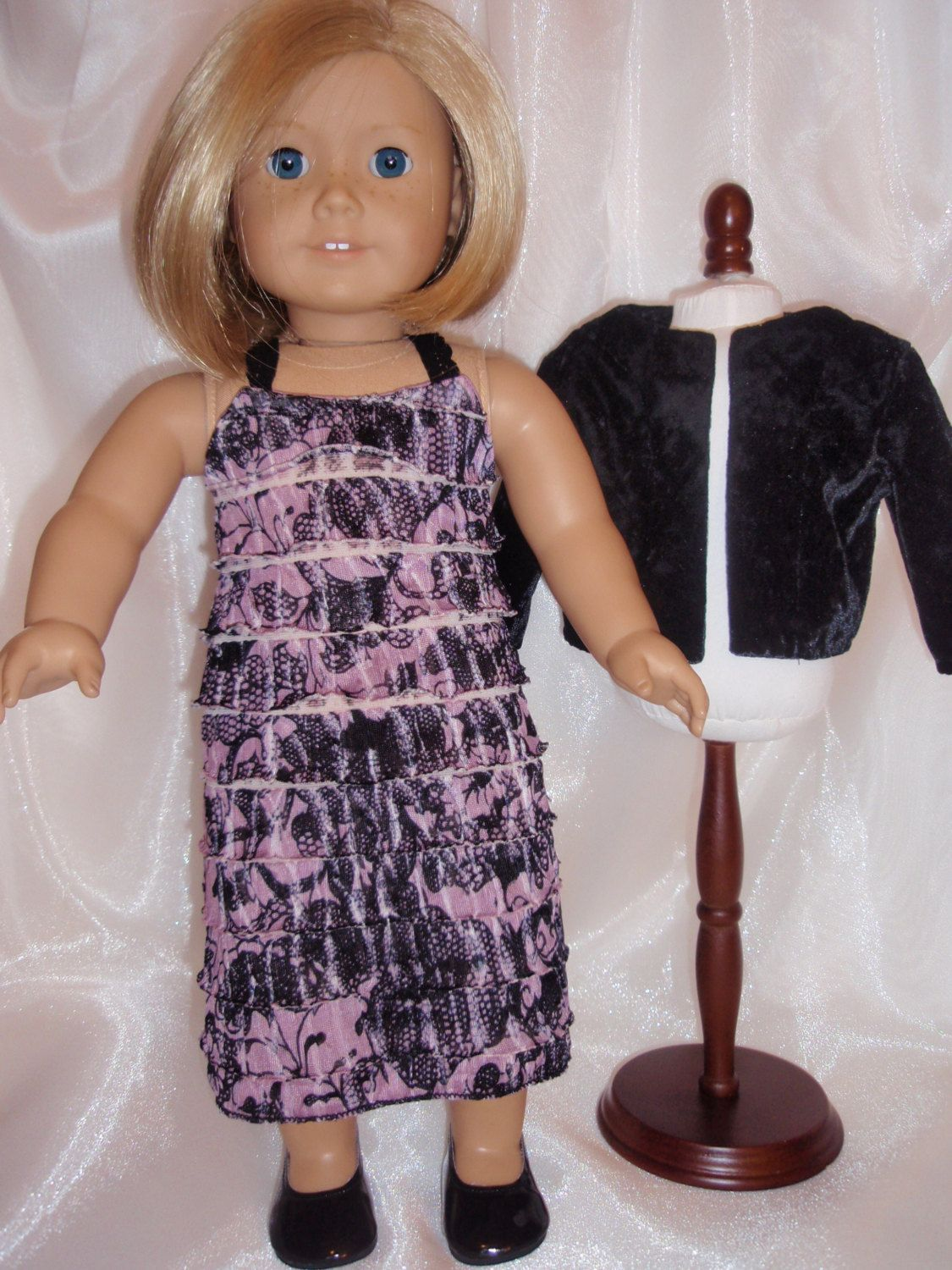 18 Inch Doll Spaghetti Strap Ruffled Dress and Jacket by Karensdollkreations on Etsy