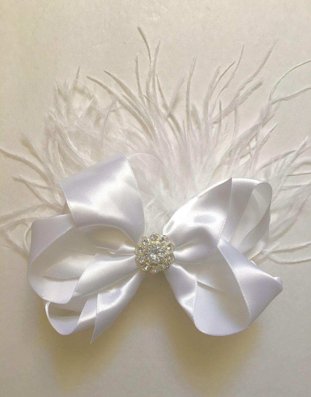 Wedding Feather Bow Fascinator at my Etsy shop https://www.etsy.com/listing/268998799/wedding-white-satin-bow-fascinator