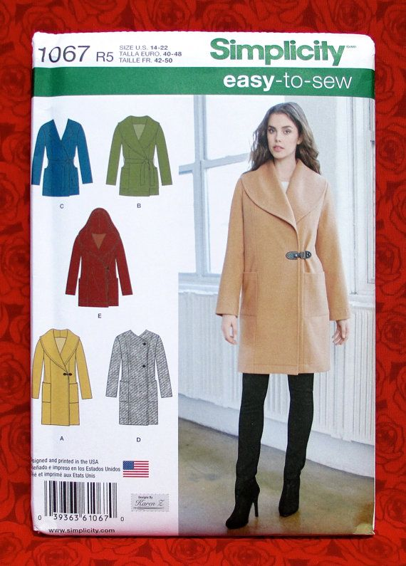 Simplicity Sewing Pattern 1067 Coat Jacket Shawl Collar Hood Tie