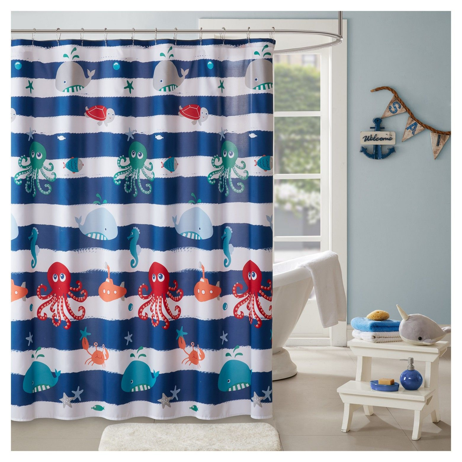 Walter The Whale Microfiber Printed Shower Curtain Navy Animal
