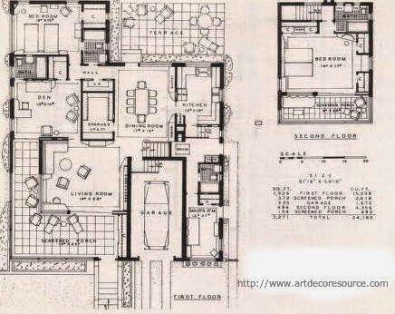 A Few More Art Deco And Art Moderne House Plans Art Deco Resource Art Deco Architectural Prints Deco