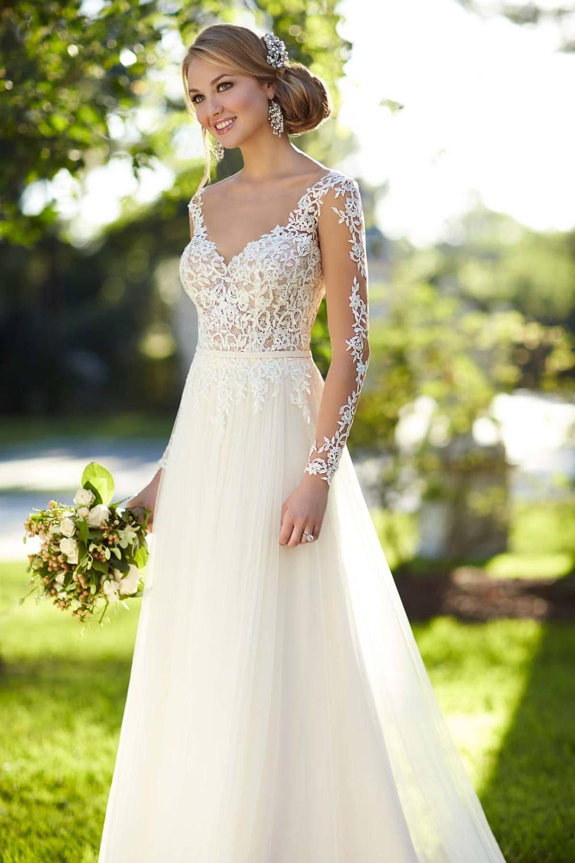 149.99 €  Robe de mariée sirène épaule dégagée avec dentelle à manche longue | Photo robe de ...