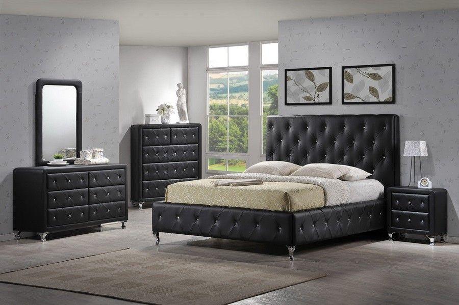 Modern Tufted Black Bedroom Set Black Bedroom Furniture Set