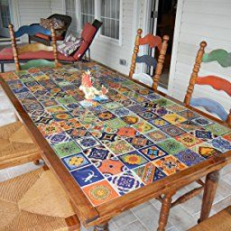 100 Hand Painted Talavera Mexican Tiles 4 X4 Spanish Influence Handmade Tiles Ceramic Tiles Mexican Tile Table