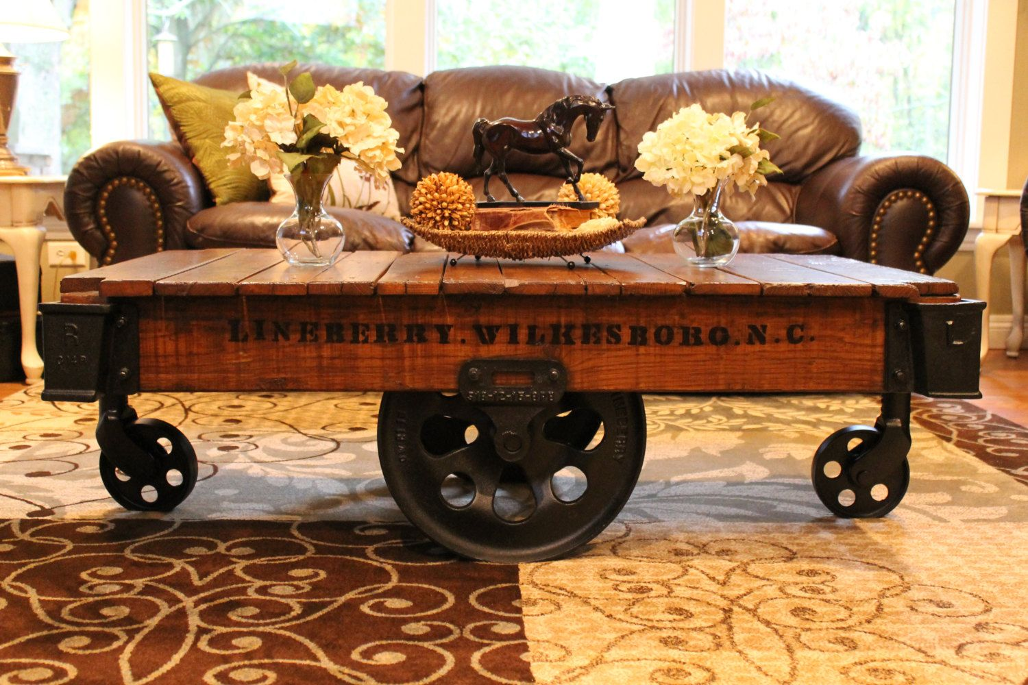 Vintage Restored Lineberry Factory Cart Coffee Table By Keeriah, $850.00