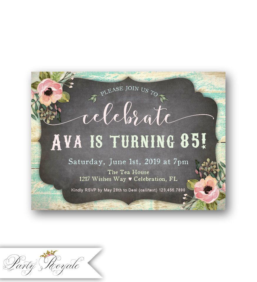 Womens 85th Birthday Party Invitations Any Age For Her 70th