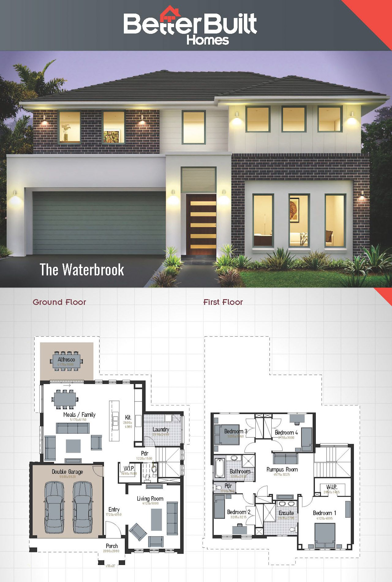 The waterbrook double storey house design 265 sq m 12 - Single story 4 bedroom modern house plans ...