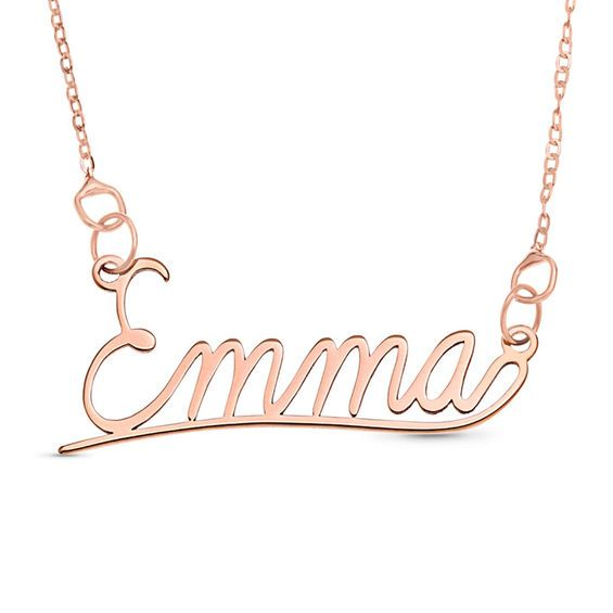 Cursive Name Necklace In 10k Rose Gold 1 Line 16 Evil Eye Necklace Gold Name Necklace Gold Name Necklace