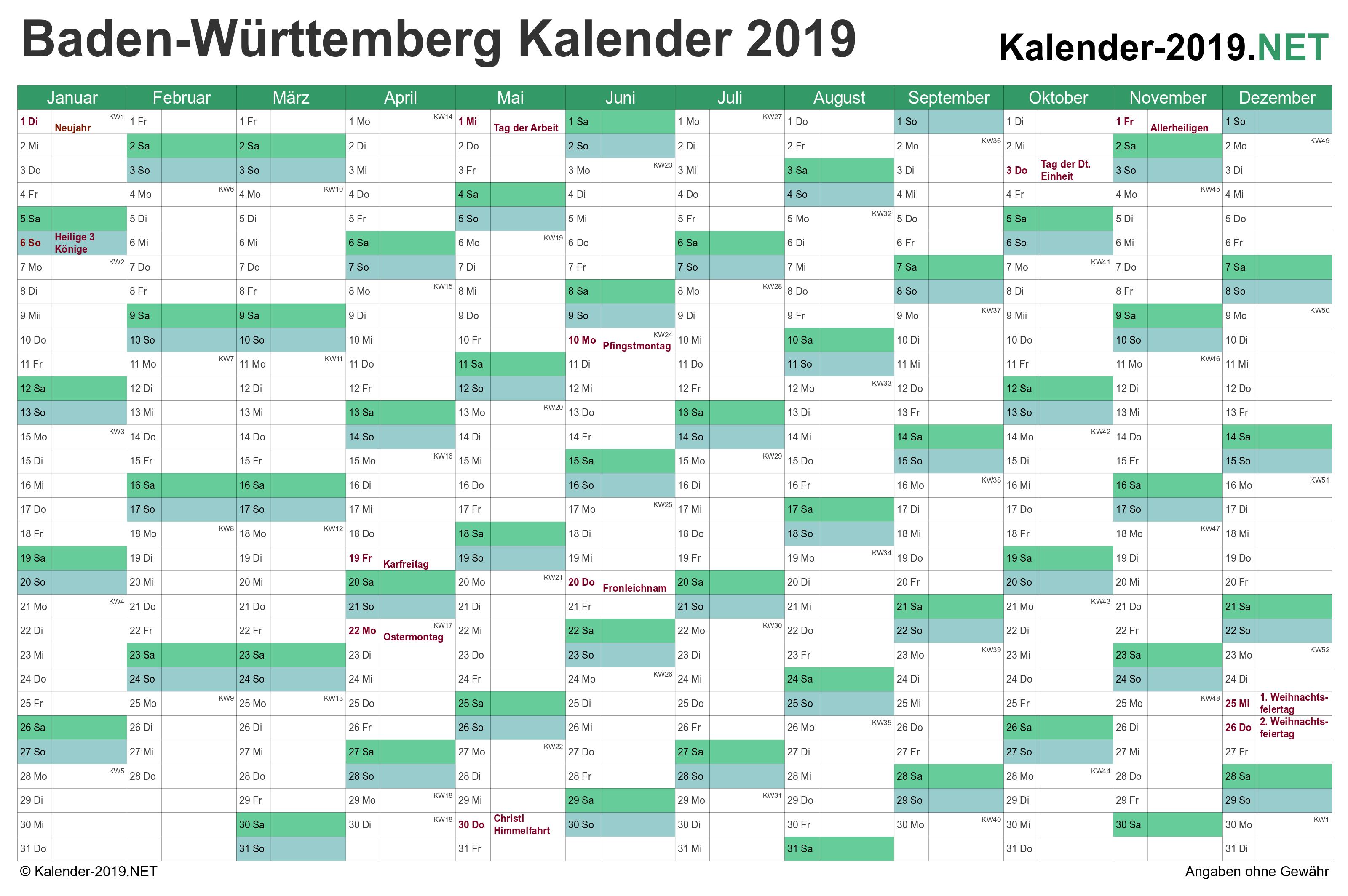 feiertage baden württemberg 2019 kalender