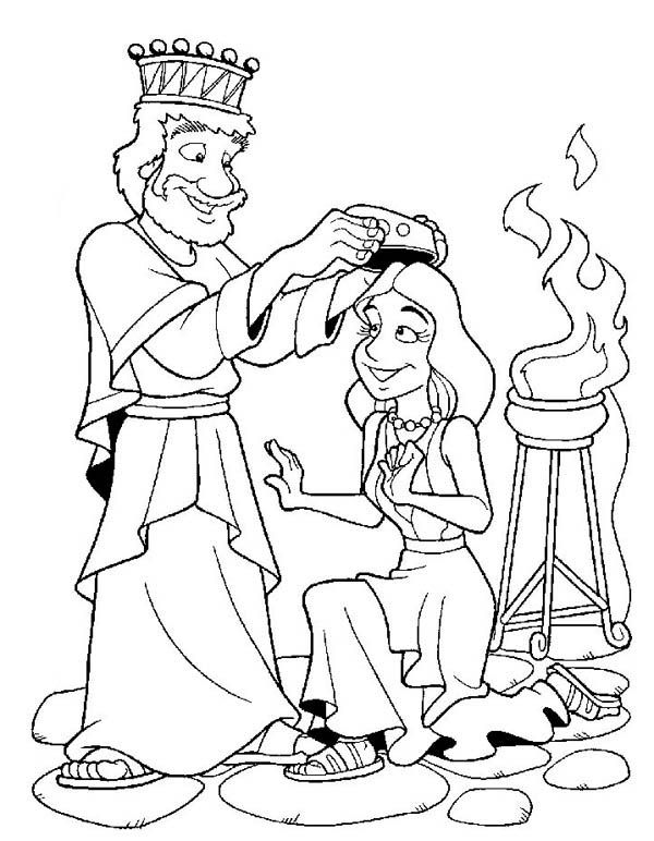 Esther Become King Ahasuerus Queen Coloring Page | The Story ...