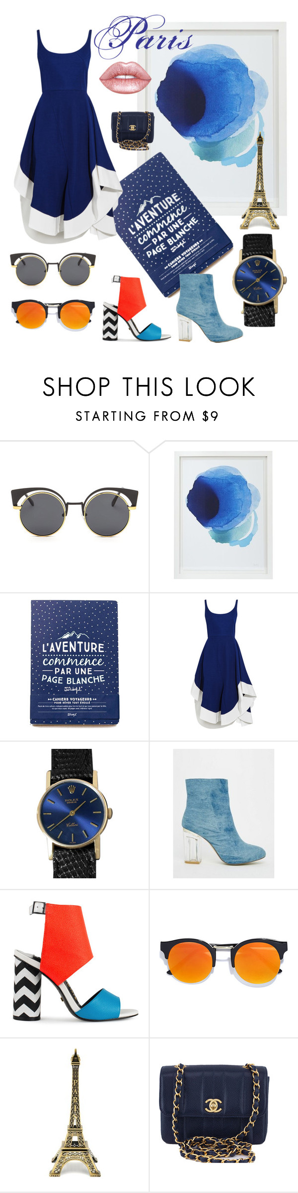"""Parisian blues"" by beanpod ❤ liked on Polyvore featuring Crate and Barrel, Esteban Cortazar, Rolex, Public Desire, Kat Maconie, LULUS, Chanel and Lime Crime"