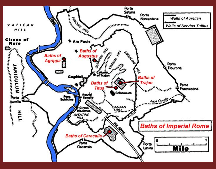 Baths Of Imperial Rome Maps Charts Graphs Reconstructions Of - Map of rome under trajan