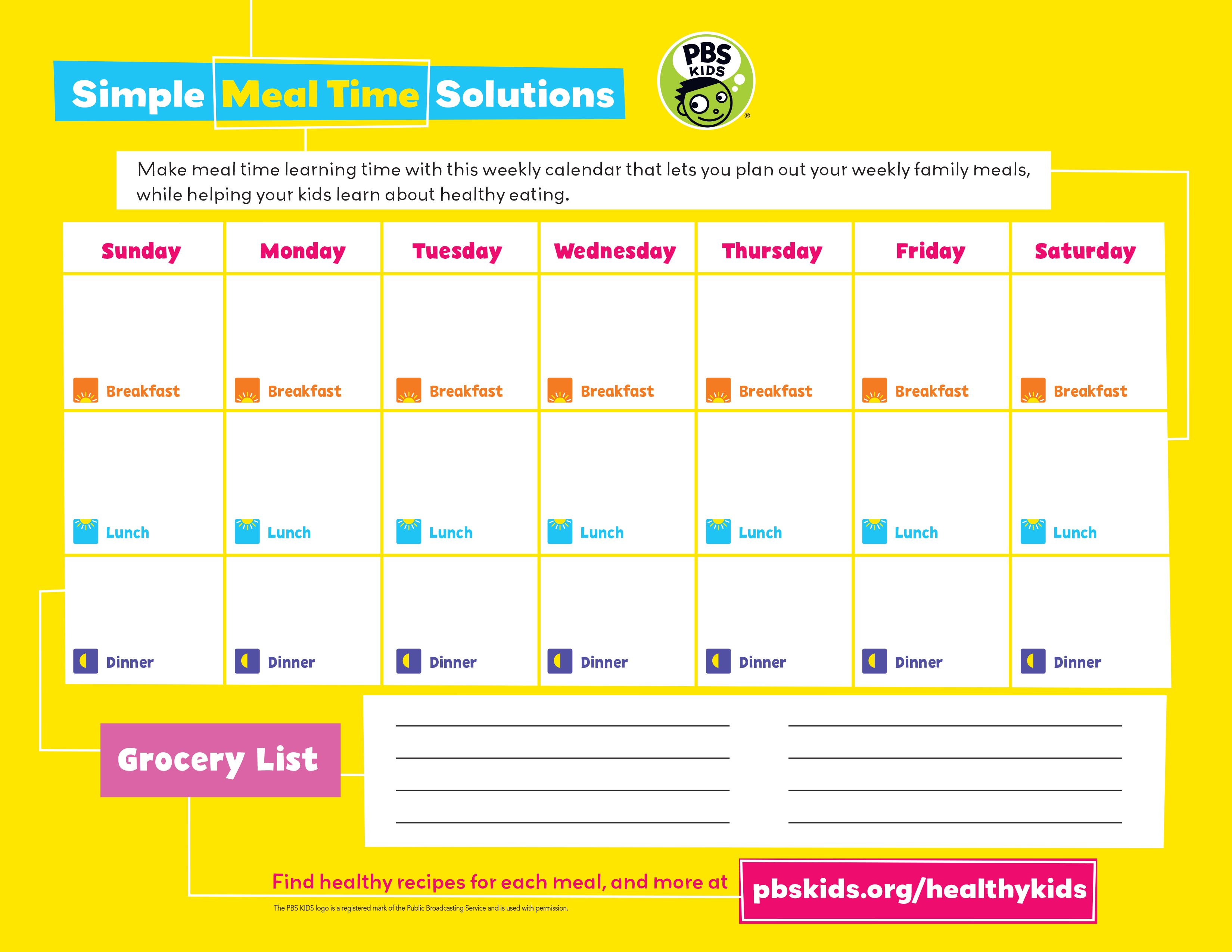 Worksheet Healthy Eating Calendar