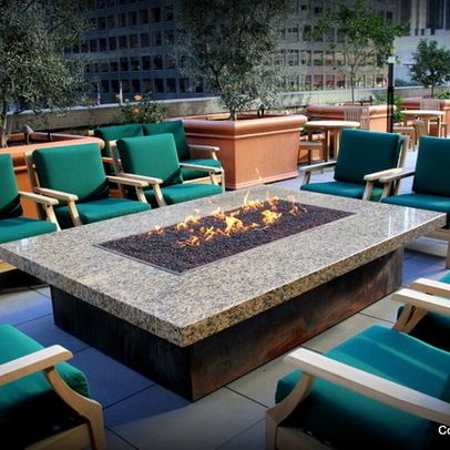 Fire Pit Bar Top Table With Copper Base Tier 1 Stone And Lava