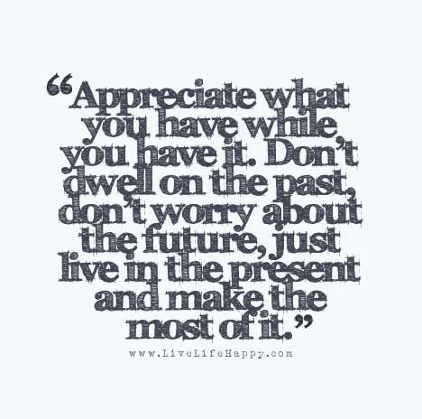 Appreciate What You Have While You Have It Don T Dwell On The Past Don T Worry About The Future Just Live In The Present And Make The Most Of It Past Quotes