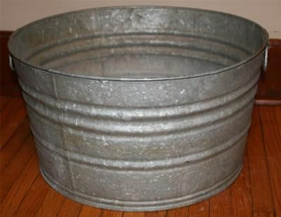 Vtg Wash Tub Basin Metal Galvanized Steel Garden Planter Cooler Primitive  Bucket