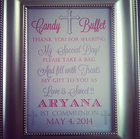Printable First Communion Baptism Candy Buffet Sign