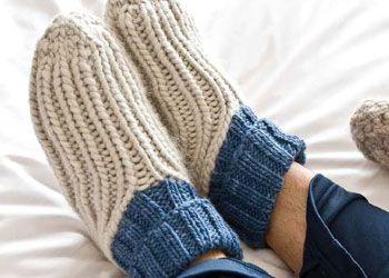 Easy Knit Patterns for Slippers: Ribby Slipper Socks