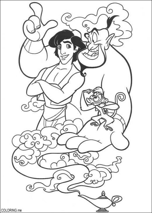 Genie Granting Aladdins Wishes With Magic Coloring Page