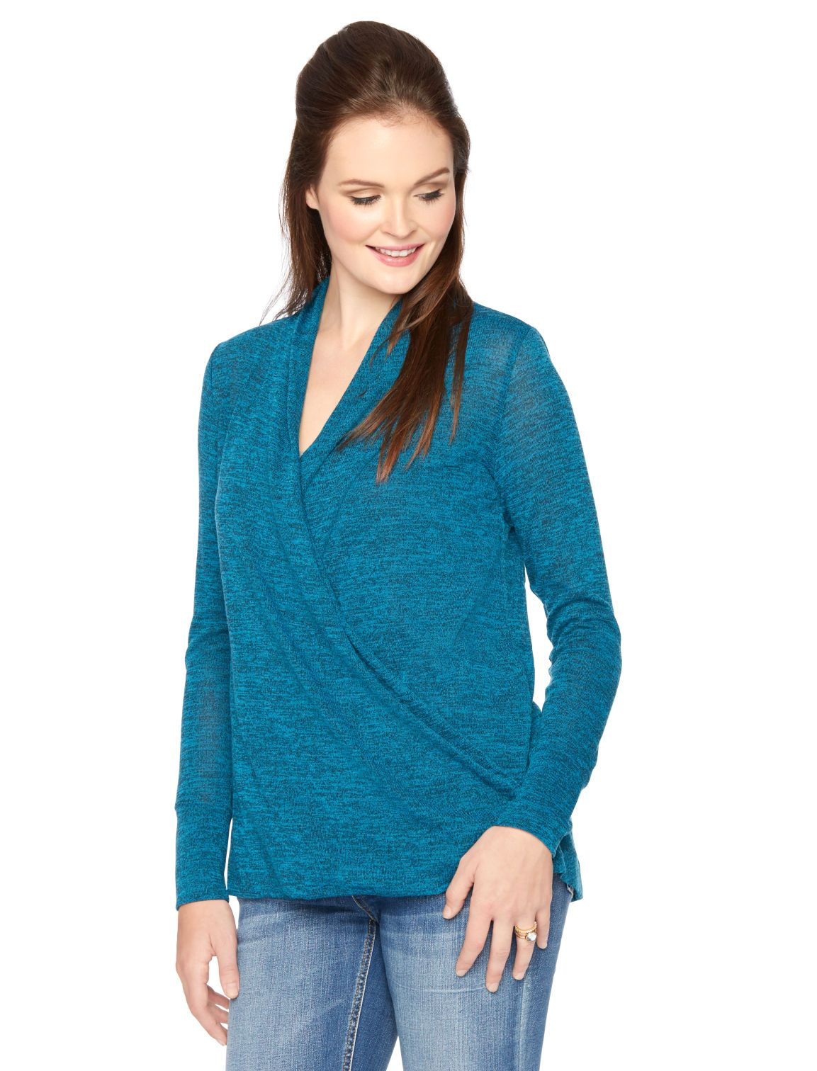 95a420991d9f0 Nursing in style | long sleeve pullover faux wrap nursing to by Motherhood  Maternity