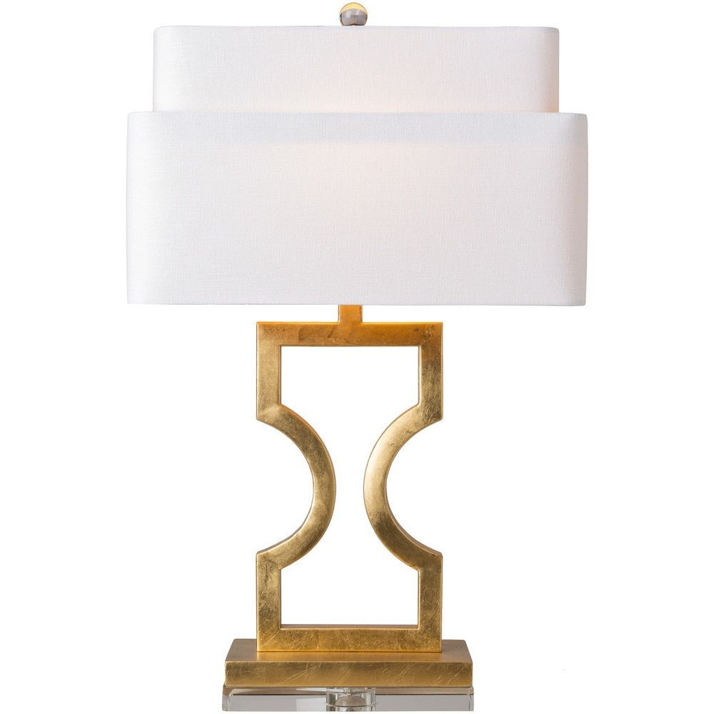Tithil table lamp with gold base and white shade tithil tbl surya tithil table lamp with base and white shade geotapseo Images