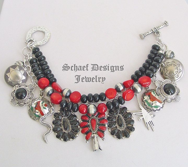 Schaef Designs Black Onyx Red coral sterling silver Charm Bracelet | New Mexico