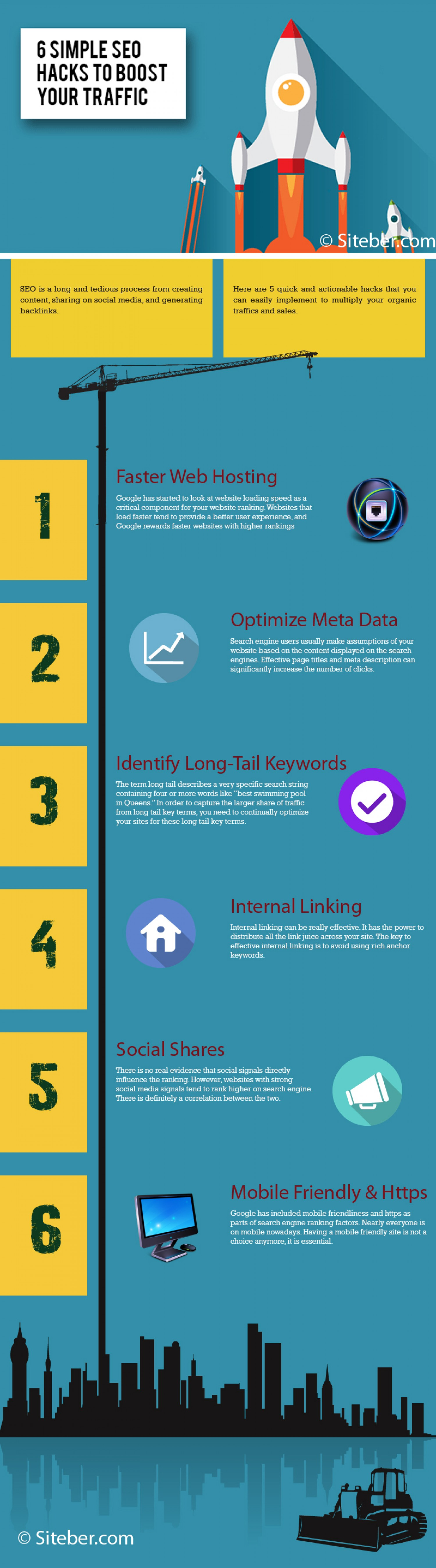 Top 6 Seo Hacks To Boost Your Traffic Infographic Traffic Seo