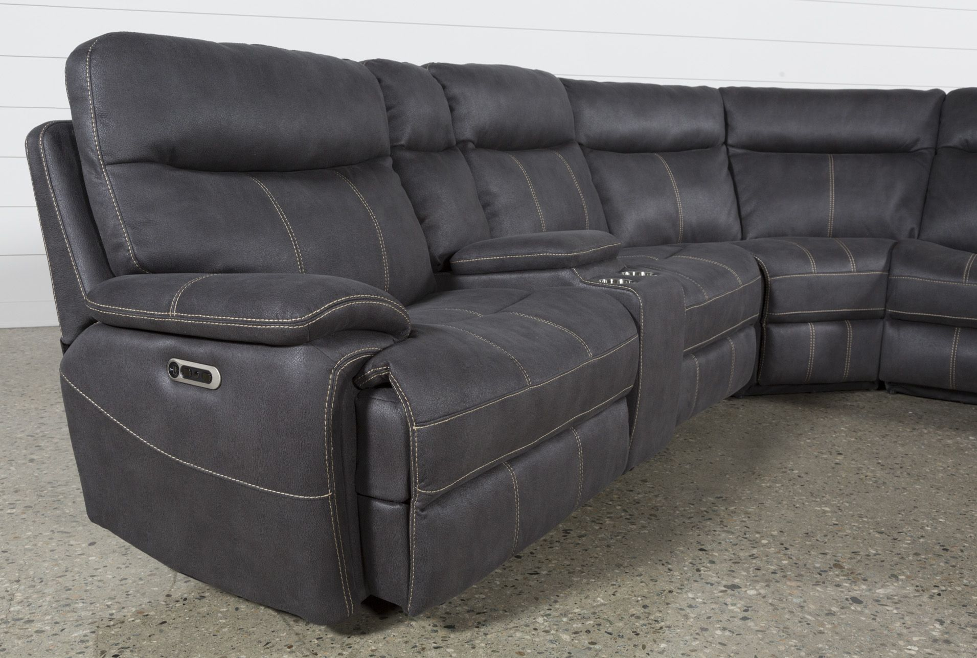 Best Denali Charcoal Grey 6 Piece Reclining Sectional W 2 Power 400 x 300