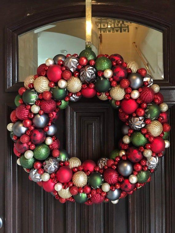 Gorgeous Buffalo Check Wreath Ornament Christmas Wreath! Bauble Wreath! Holiday Wreath! Holiday Wreath, Shatterproof Ornaments,