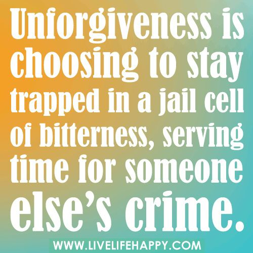 Unforgiveness Is Choosing To Stay Trapped In A Jail Cell Of Bitterness Serving Time For Someone El Inspirational Quotes Meaningful Quotes Inspirational Words