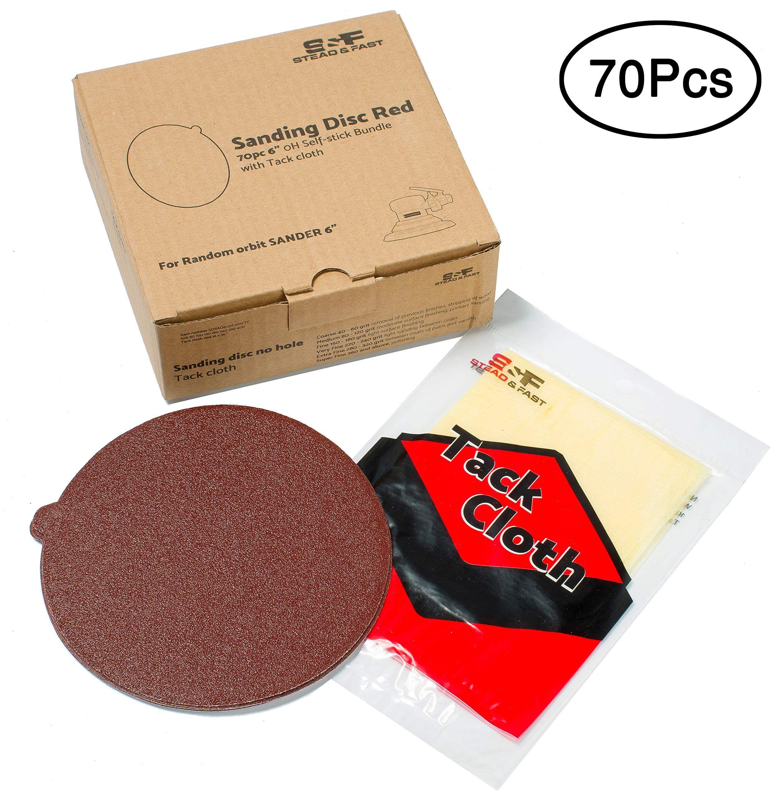 Stead And Fast 70 Pcs 6 Inch Sanding Disc Self Stick Bundle With Tack Cloth Psa Sandpaper For Disc Random Orbital And Da Sander 80 1 Sanding Sandpaper Tack