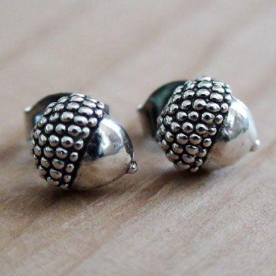 ACORN EARRINGS - Sterling Silver Post Earrings