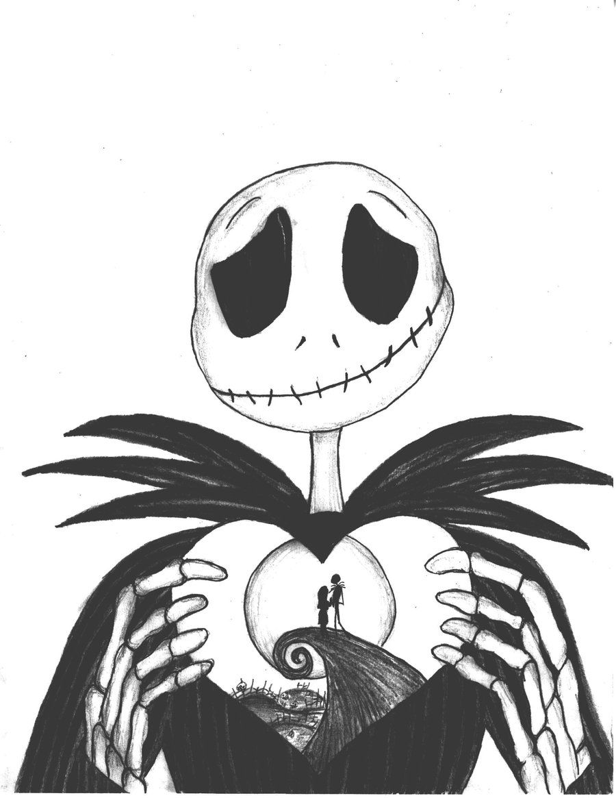 nightmare before christmas coloring pages clipart [ 900 x 1165 Pixel ]