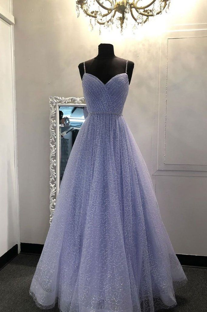 2020 Blue sweetheart tulle sequin long prom dress blue formal dress