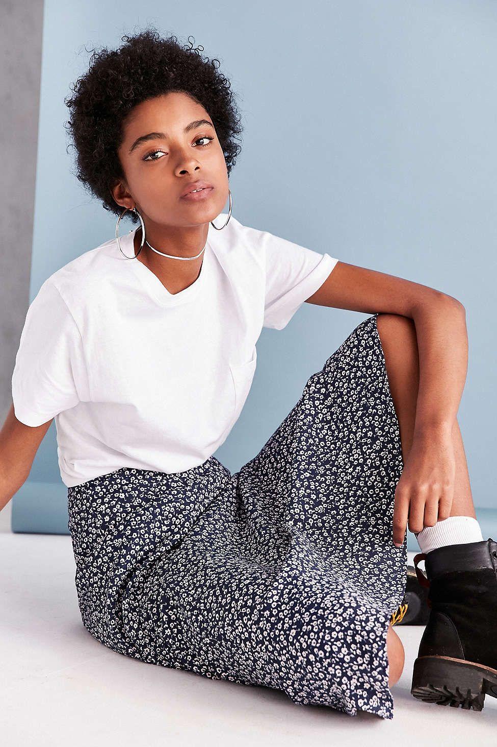 BOG Collective Printed Flute Hem Midi Skirt Printing and Models
