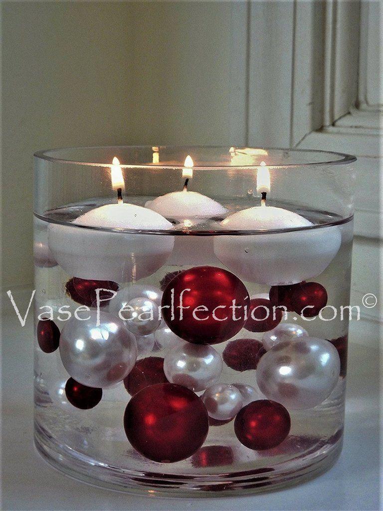 Wedding decorations white november 2018  Red u White Pearls w Gems AccentsJumboAssorted Sizes Vase