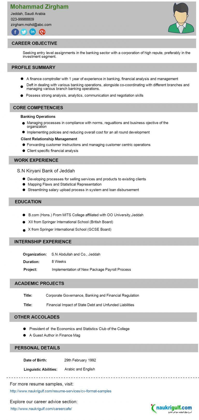 Cv format banking finance resume sample naukriuglf com for