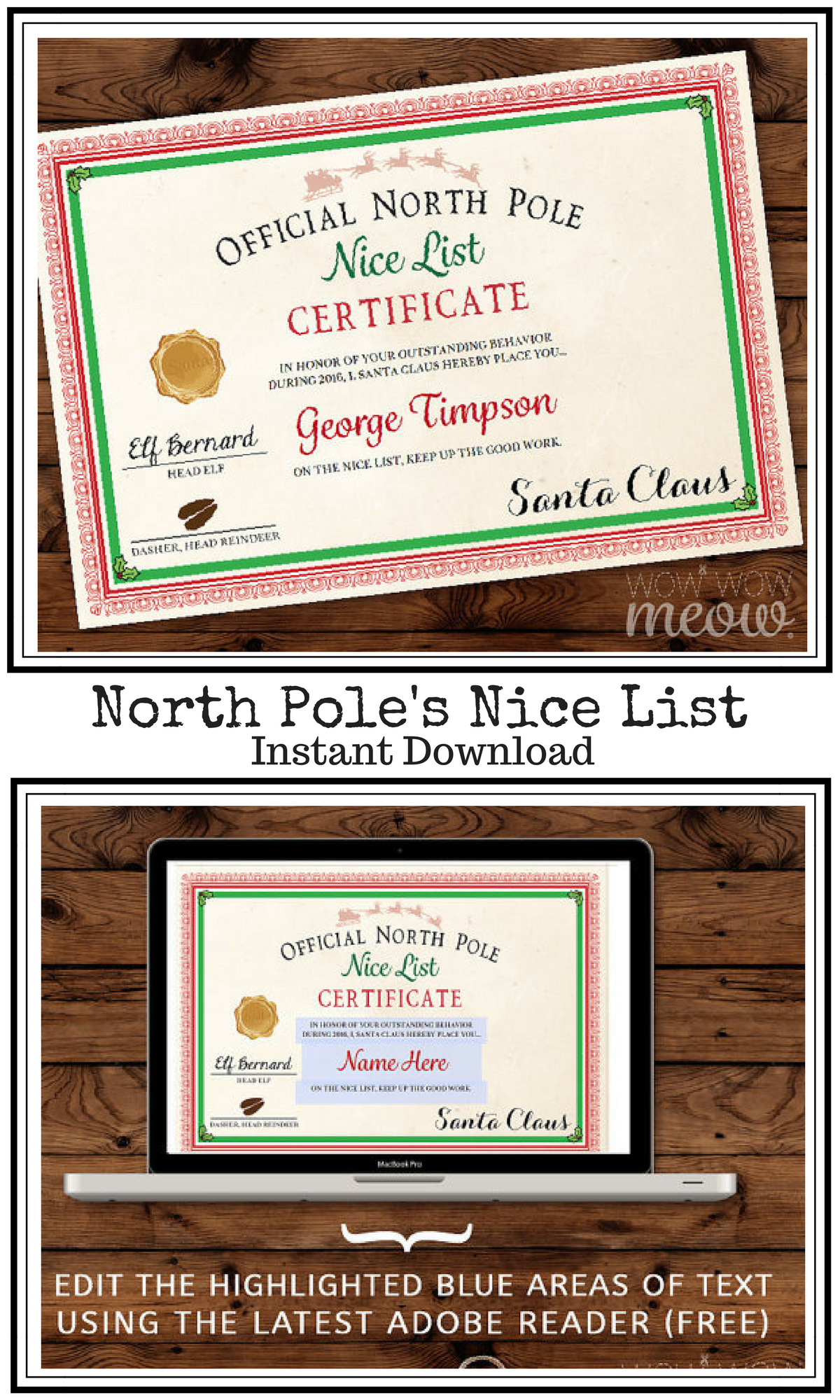 Official North Pole Nice List Certificate Santa Claus Letter Instant