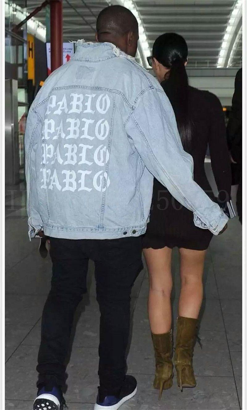 Kanye West I Feel Like Pablo Oversized Distressed Denim Jacket Dis Score Authent Distressed Denim Jacket Oversized Distressed Denim Jacket Kanye West Outfits