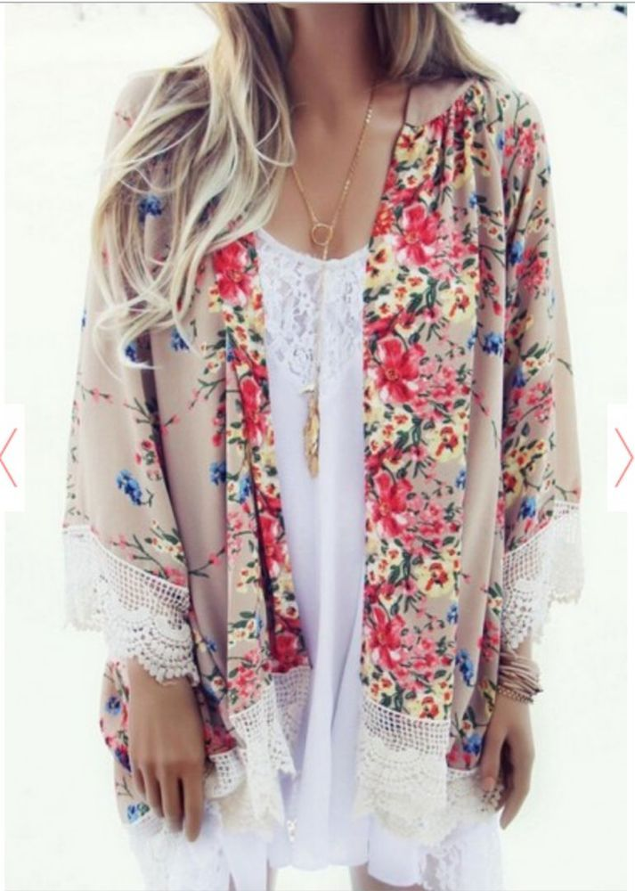 64008f7201 Floral   Lace Kimono Cardigan Floral Overthrow Boho Chic Blouse Wrap Duster  PLUS  ClothingBucket  Cardigan  Casual