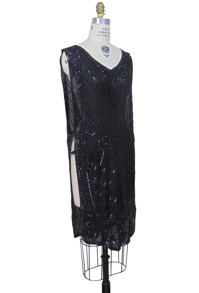 Great Gatsby Style Tabard Dress In Black Silk By The Deco