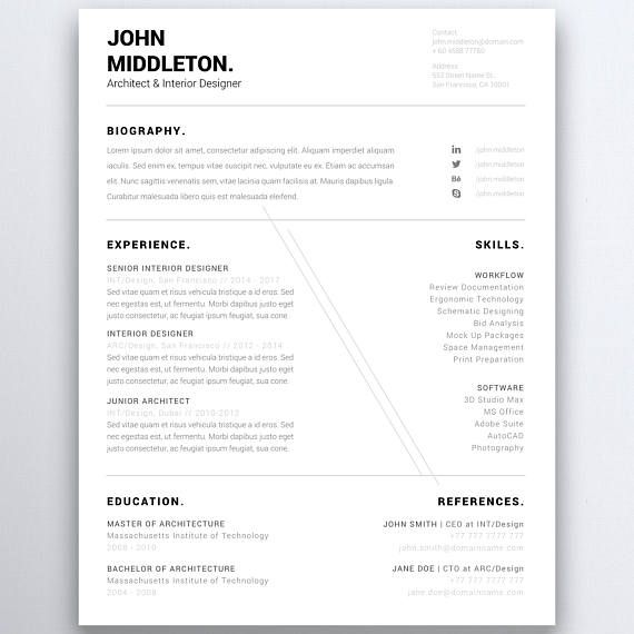 Modern Minimalist Resume Template One Page Resume Five Page
